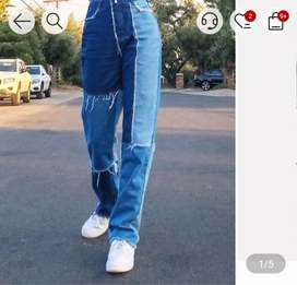 Patchwork high waist jeans for women