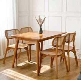 Meja makan jati dining chair kursi rottan