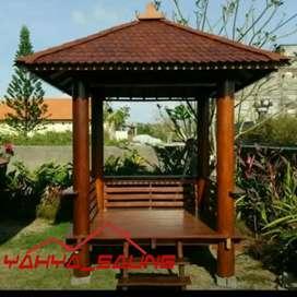 Saung gazebo kayu kelapa minimalis berbagai ukuran siap rakit