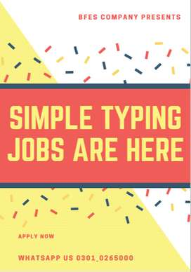 Get your payment easily working with us- Simple typing Jobs
