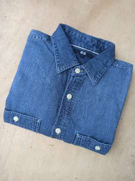 Kemeja Chambray Work Denim Uniqlo L biru