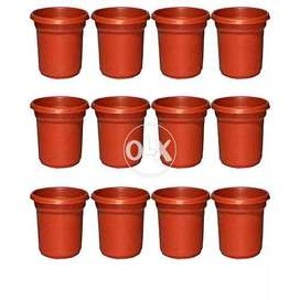 "Pack of 12 - Flower Pots Plastic - Size 7"" - Brown"