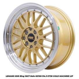 JUAL VELG HSR WHEEL: LEMANS HSR R16X7 H8X100-114,3 ET38 GOLD/ML