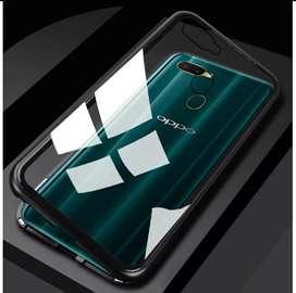 Case Oppo F9 Case Magnetic Tempered Glass Back Dan Metal Frame Premium