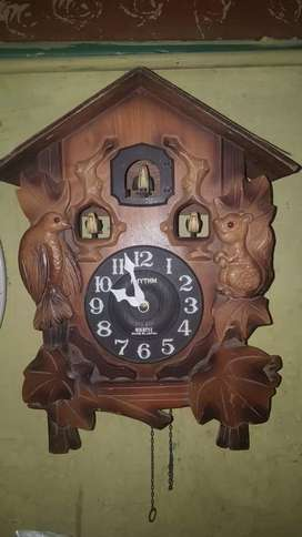 Antique vintage wooden Japan cookoo wall clock for sale