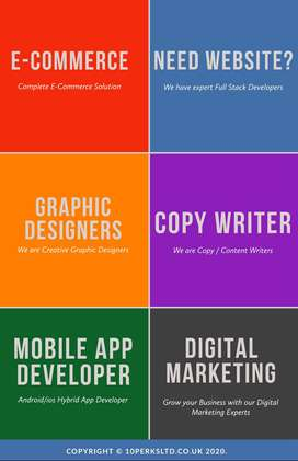 Web,Android,Ios app development and graphic designing with SEO