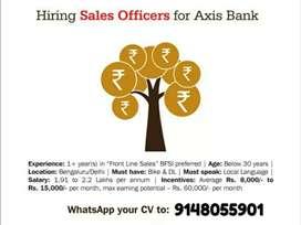 Hiring for sales officers (banglore, delhi)