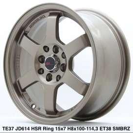 velg murah TE37 JD614 HSR R15X7 H8X100-114,3 ET38 SMBRZ