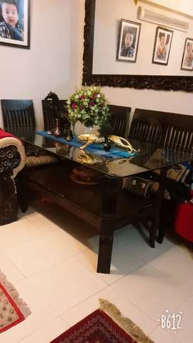 Dining table 6 chair all most new condition