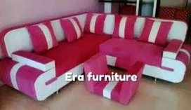 Erafurniture*sofa L new VALENTINO pink-putih+bantal+MEJA
