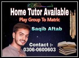 Home Tutor Available for class Play Group To Matric