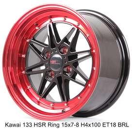 jualan KAWAI 133 HSR R15X7/8 H4x100 ET18 BK/RED