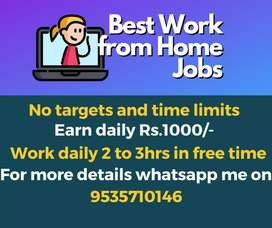 Part time jobs. Weekly payment. Earn weekly 5000/- to 7000/-