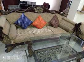 Wooden Carving 7 Seater Sofa with centre table