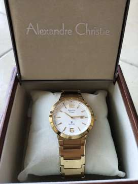 Jam Tangan Alexandre Christie Gold Sapphire Glass Original Cowok/Cewek