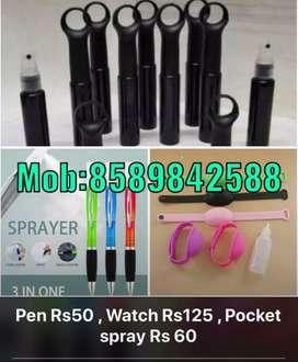 Sanitizer pen, sanitizer watch and sanitizer pocket spray