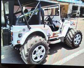 Modified white Willy jeep