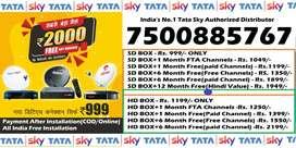 999 Tata Sky DTH Offer- Tatasky D2H Dishtv Videocon - Dish All India