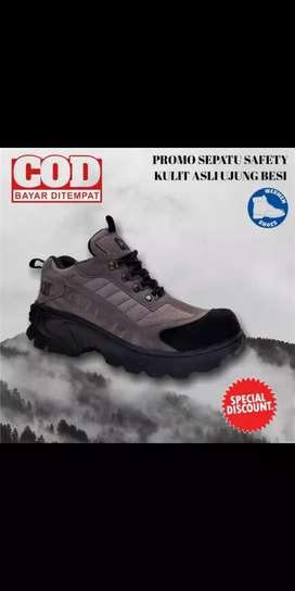 PROMO Sepatu safety ujung besi kulit asli