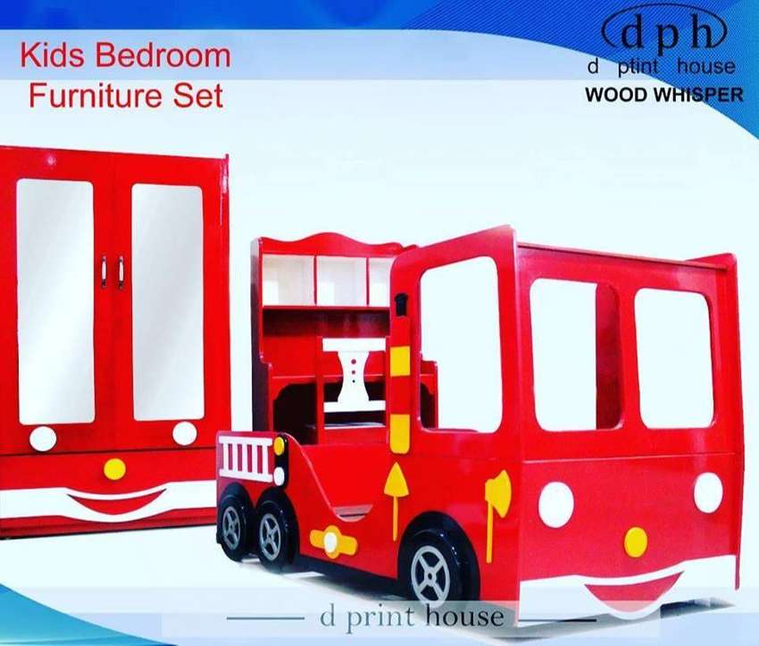 Kids Bus Bed with shelf and study table - Peshawar 0