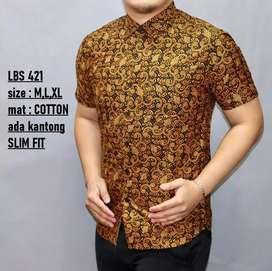 Kemeja batik pendek LBS 421 ukuran M  gold full