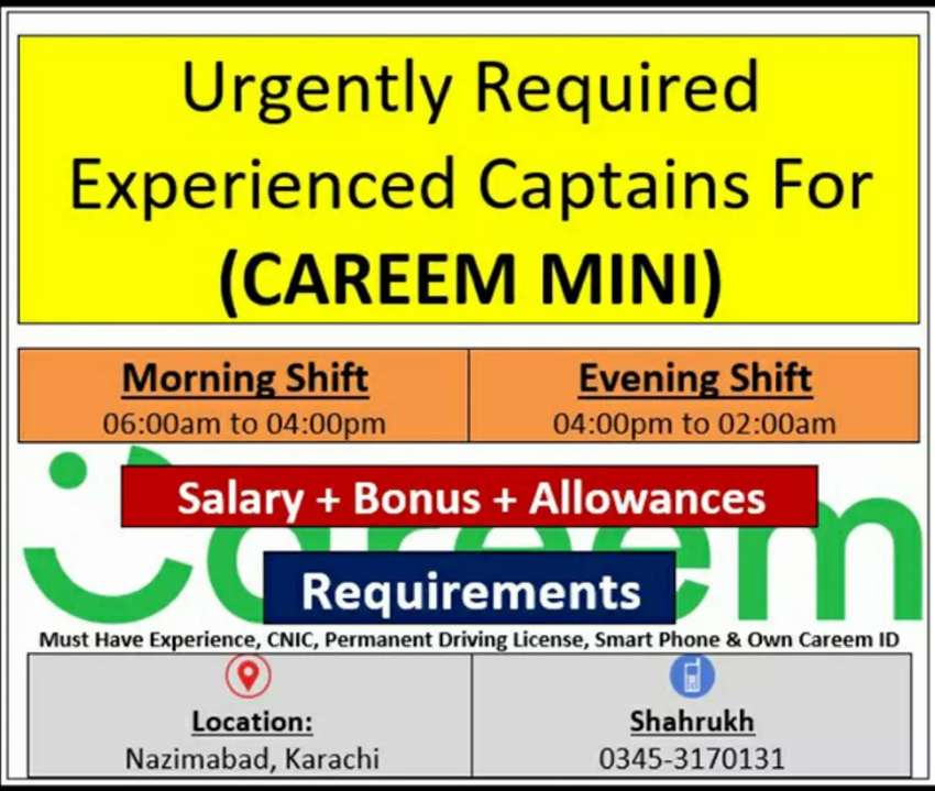 Experienced Captains Required For Careem Mini 0