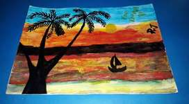 Water painting and oil paintings