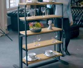 Meja Makan Lipat Industrial Design dengan Kayu Mindi Solid Baru Promo