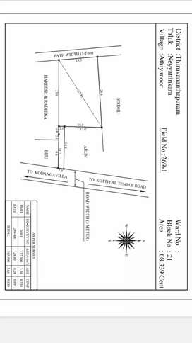 Resident plot. Square dry land. 8 cent with coconut trees 2 km from NH