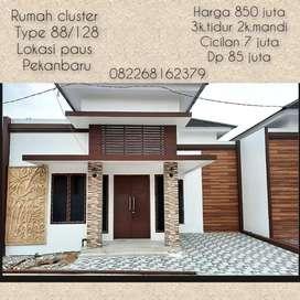 Dijual rumah cluster type 88/128 paus arifin ahmad