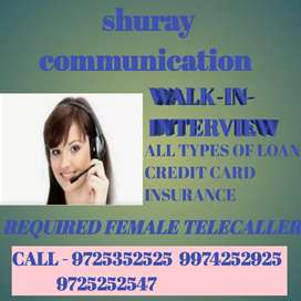 Female Telecaller required loan & credit card