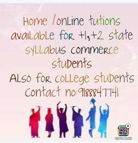Home Tution for plus one plus two state commerce