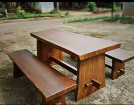 Meja makan set kursi panjng murmer