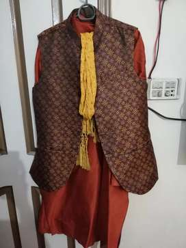 Mehendi dress for sale with waistcoat and khussa complete