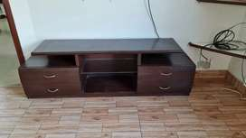 BROWN WOODEN 4 DRAWER COFFEE TABLE