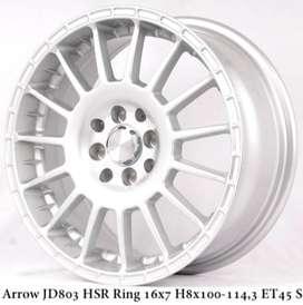 JUAL VELG HSR WHEEL: ARROW JD803 HSR R16X7 H8X100-114,3 ET45 SILVER