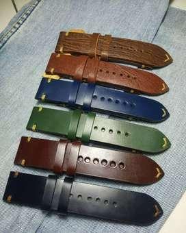 Tali jam kulit sapi asli handmade 18-24mm