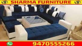 Royal Blue and White Combo L shape set at SHARMA FURNITURE