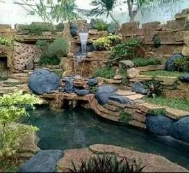Jasa pembuatan kolam hias relief alami
