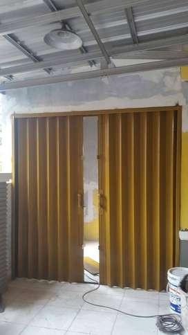 pasang baru folding gate rolling door model harmonika siap pasang