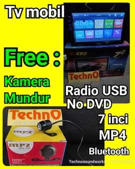 Paket multimedia tv mobil double din tape + kamera mundur for sound