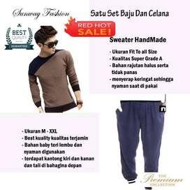 AM00197 Celana Setelan Satu set Sweater  dan celana jogger Jaket Hoodi