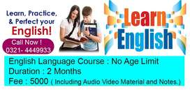 English Language Course, Job Guaranteed after Course. 2 Month Duration