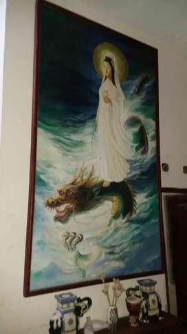 Lukisan dewi kwan im uk 140x260cm