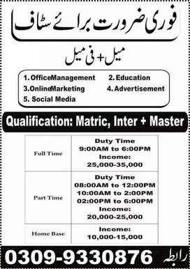 job avilablie in lahore office base and home