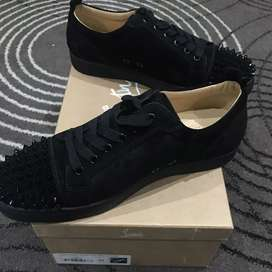 Christian Louboutin Junior Spikes Black Suede