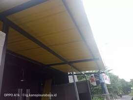 jasa pasang kanopi upvc rooftop, spandex, kaca , galvalum