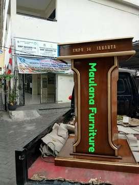 Mimbar kayu jati podium tebal
