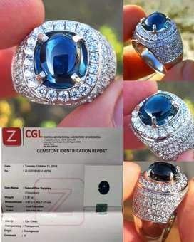 Batu Natural Blue Sapphire 5.87ct Clean Eye sertificat ZCGL