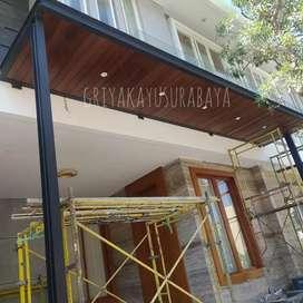 Plafon kayu solid/dinding kayu/railling kayu/sekat ruang/partisi kayu